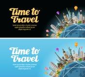 对世界的旅行 在地球的地标 旅途,假期 库存例证