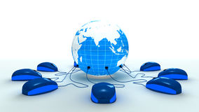 对世界的被连接的mouses 免版税库存照片