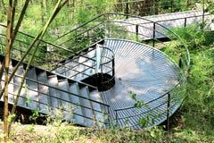 对严酷的苦难通行证的楼梯在Kanchaburi省泰国 库存图片