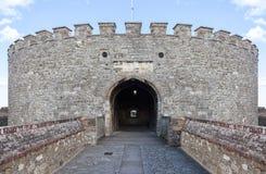 对中世纪城堡塔的入口保持 库存照片