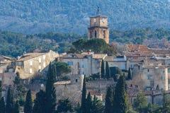 对中世纪萨布莱村庄,普罗旺斯的看法 图库摄影