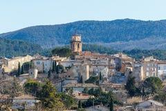 对中世纪萨布莱村庄,普罗旺斯的看法 免版税库存图片