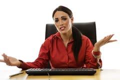 对书桌的妇女手铐 免版税库存照片