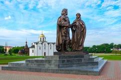 对亚历山大・涅夫斯基,维帖布斯克,白俄罗斯王子的纪念碑 免版税图库摄影