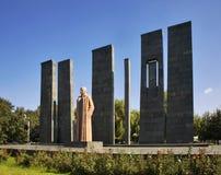 对亚历山大Myasnikyan的纪念碑在耶烈万 的臂章 库存照片