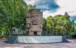 对人类学国家博物馆的入口在墨西哥城 库存照片
