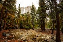 对优胜美地瀑布的壮观的看法 免版税库存图片