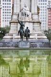 对作家的西万提斯极大的纪念碑 免版税库存照片