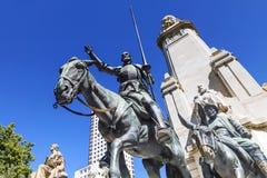 对作家米格尔・德・塞万提斯的纪念碑在马德里 西班牙 库存照片
