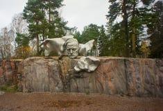 对作曲家的1月西贝柳斯,芬兰纪念碑 库存照片