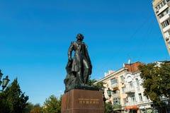 对俄国诗人普希金的纪念碑 免版税库存图片