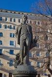 对俄国诗人谢尔盖・亚历山德罗维奇・叶赛宁的纪念碑在莫斯科 免版税图库摄影