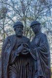 对保佑的王子Pyotr和Fevronia Murom公主的纪念碑 库存图片