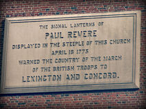 对保罗・雷韦雷的纪念碑在波士顿,马萨诸塞 库存照片