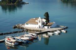 对修道院Vlahelna, Kerkyra,科孚岛海岛,希腊的看法 免版税图库摄影