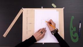 对做样式的设计师手的时间间隔在织品前面缝合时装 股票视频