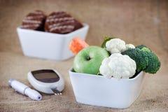 对健康的适当的营养没有糖尿病 免版税库存照片