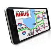 对健康航海工具资源App巧妙的电话的地图 免版税库存图片