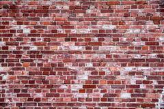 对元素的长的暴露指示的老和被风化的简单的脏的红砖墙壁当纹理背景 免版税图库摄影