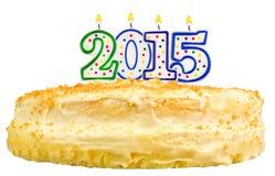 对光检查第2015被隔绝的生日蛋糕 免版税库存照片