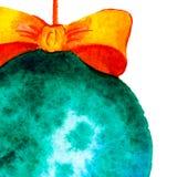 对党的一个方形的邀请 圣诞节球 与空间的模板文本的 水彩 库存例证