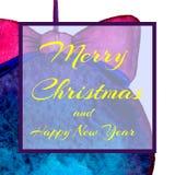 对党的一个方形的邀请 圣诞节球 文本-愉快的圣诞节和新年 水彩 库存例证