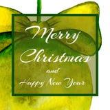 对党的一个方形的邀请 圣诞节球 文本-愉快的圣诞节和新年 水彩 皇族释放例证