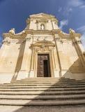 对入口的步对城堡的大教堂在戈佐岛的,马耳他维多利亚 库存照片