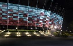 对全国体育场的入口在华沙在晚上 免版税库存图片
