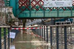 对公众的水灾地区禁止的通入 库存图片