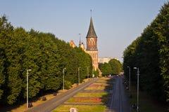 对公园和大教堂的看法在加里宁格勒 库存照片