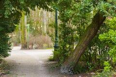 对公园的入口在Brugges比利时 库存照片
