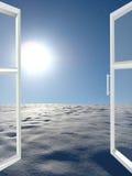 对冬天太阳风景的被打开的窗口 库存照片