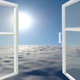 对冬天太阳风景的被打开的窗口 库存图片