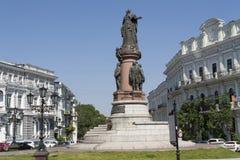 对凯瑟琳2的纪念碑傲德萨照片的,乌克兰,欧洲 库存照片