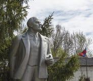 对列宁的纪念碑树的背景和俄罗斯的旗子的 库存照片