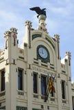 对北部驻地的Clocktower在巴伦西亚,西班牙 免版税库存照片