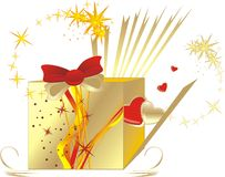 对华伦泰的配件箱日装饰礼品 库存图片