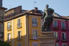 对卡洛斯的纪念碑III在广场Square市长)市长(布尔戈斯,西班牙 库存图片