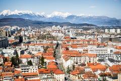 对卢布尔雅那市的顶面viev,斯洛文尼亚的首都 免版税图库摄影