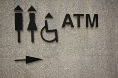 对卫生间和ATM的标志在墙壁上 免版税图库摄影