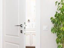 对卫生间的半开白色门 在浅灰色的w的系列开关 免版税库存照片