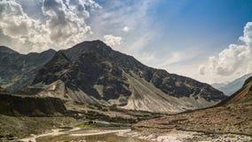 对印度河和谷,喀喇昆仑山脉巴基斯坦的看法 库存图片