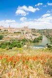 对历史托莱多镇,西班牙的看法 库存图片