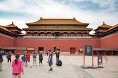 对历史的故宫博物院的入口在故宫在北京,中国2017年9月26日: 库存照片