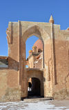 对古老Ishak巴夏宫殿的入口 免版税库存照片