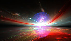 对另一个行星的光亮的意想不到的天际 免版税库存照片