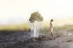 对可再造能源观察吸引包含树的一个巨型电灯泡的妇女 免版税库存照片