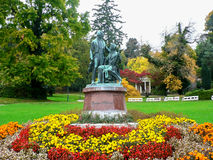 对史特劳斯的古铜色纪念碑 免版税库存图片