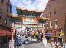 对唐人街的美好的门在费城-费城-宾夕法尼亚- 2017年4月6日 库存图片
